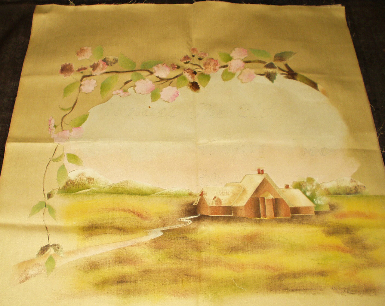 Victorian Chromo Lithograph Printed Pillow Cover Farm Under The Old Apple Tree