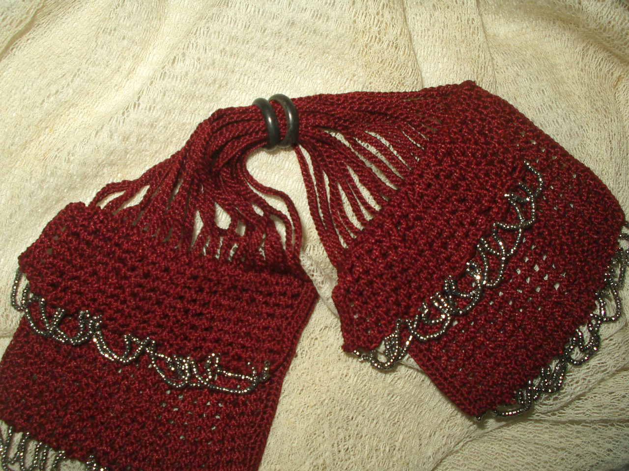 Antique Knitted Silk Miser Bag Coin Purse Silver Bead Fringe Early 1900