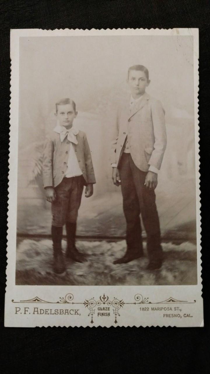 Victorian Photograph Cabinet Card 2 Young Boys Fresno CA Photographer