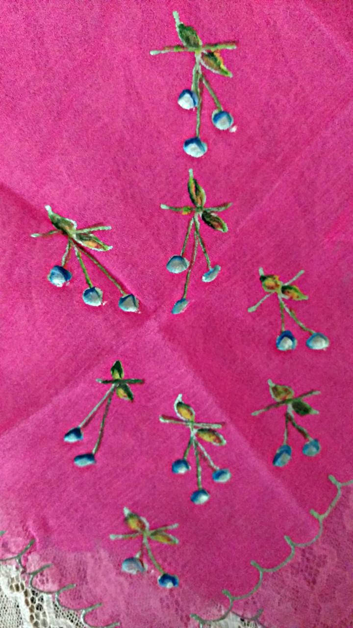 1920 Hand Painted Rose Silk Chiffon Handkerchief Gold Metallic Edging