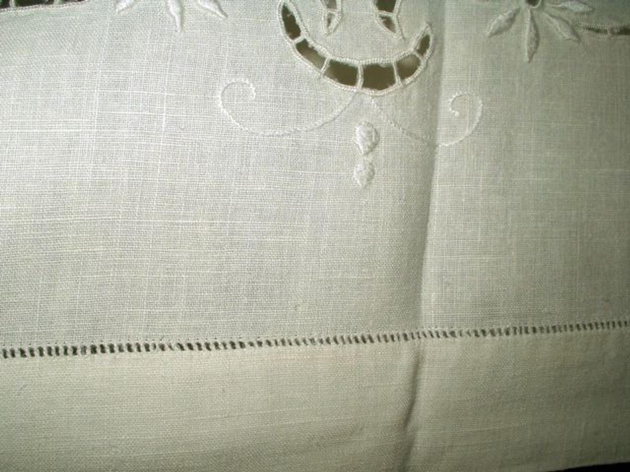 "Antique Early 1900s Monogram ""R"" Linen Sheet"