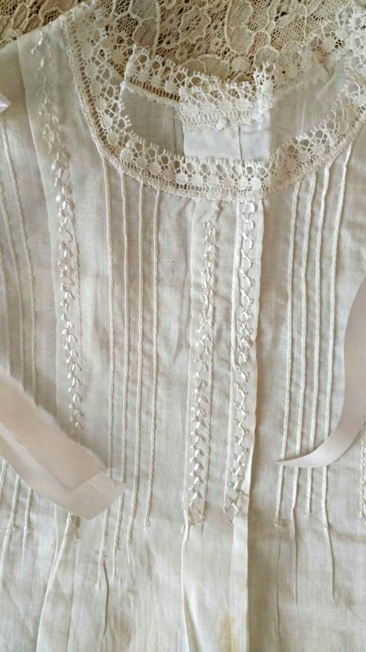 1930s 1940s White Baby Dress Pin Tucks Lace Ribbon Bows Unworn