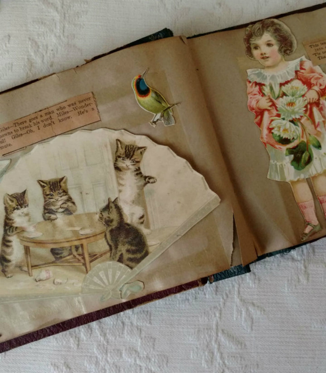 1907 Victorian Paper Scrap Book  Lithograph Prints  Newpaper Rhymes Riddles Etc