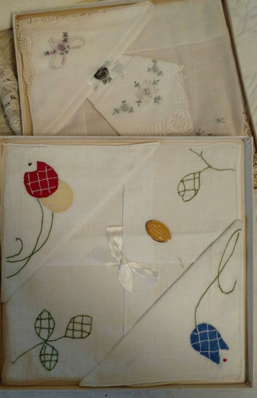 5 Vintage Boxed Handkerchief Sets Swiss Linen Embroidery Applique