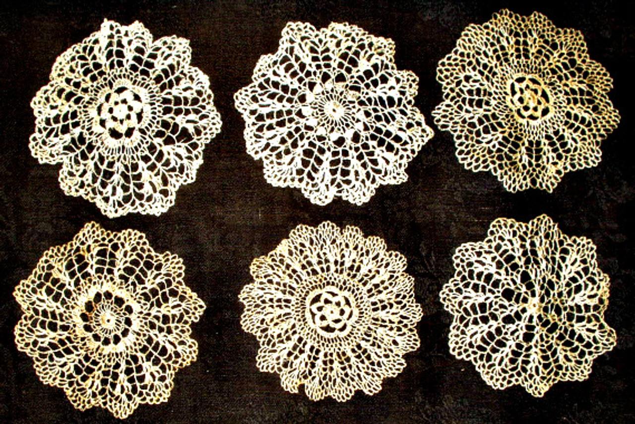 Antique Edwardian 6 Sampler Crochet Lace Doily  In Booklet