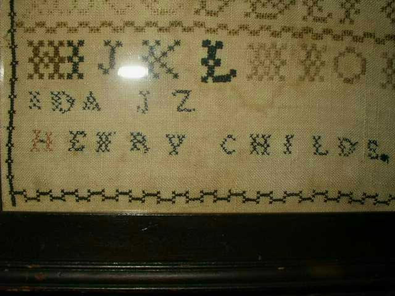 Early ABC School Girl Sampler On Homespun Original Frame