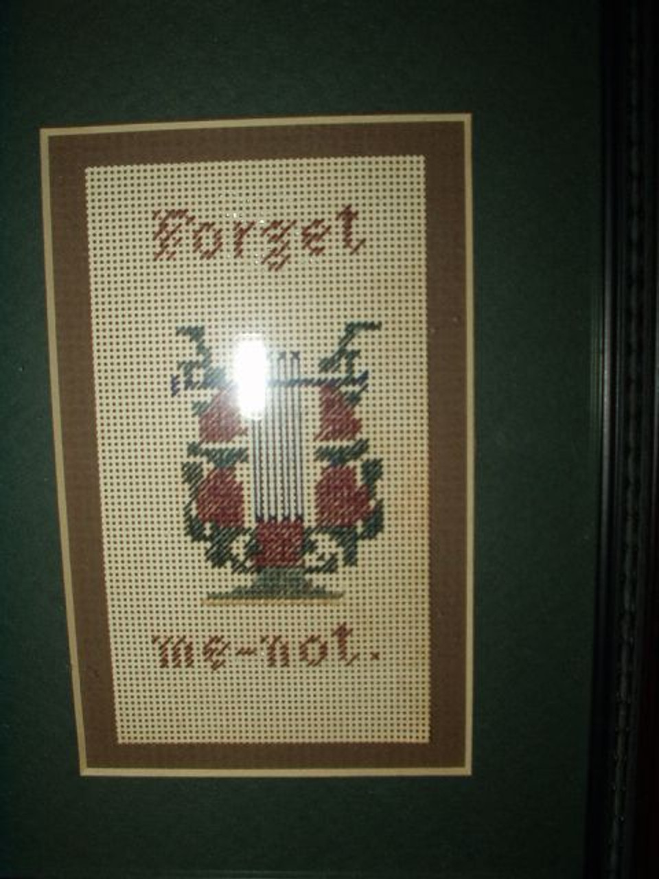 Victorian Framed Embroidered Berlin Work Forget Me Not Sampler Bookmark