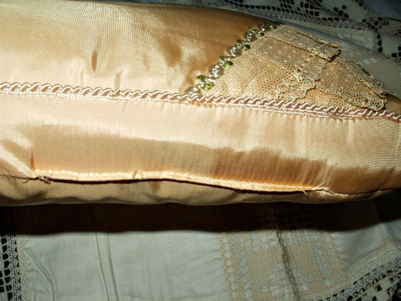 Vintage 1920s  Bed Boudoir Rayon Fabric Box Pillow  Lace Trim