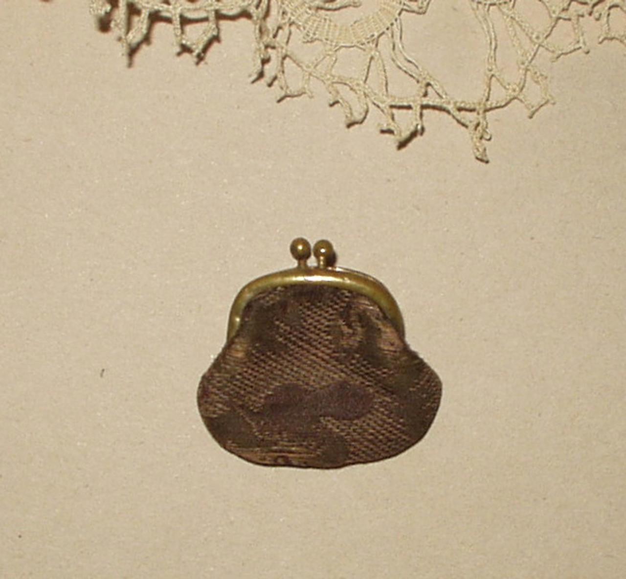 Antique Silk Brocade Fabric Victorian Edwardian Coin Purse For Doll
