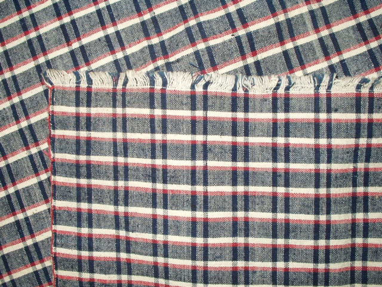 Linen Homespun Red White Blue Check 1900 Table Runner