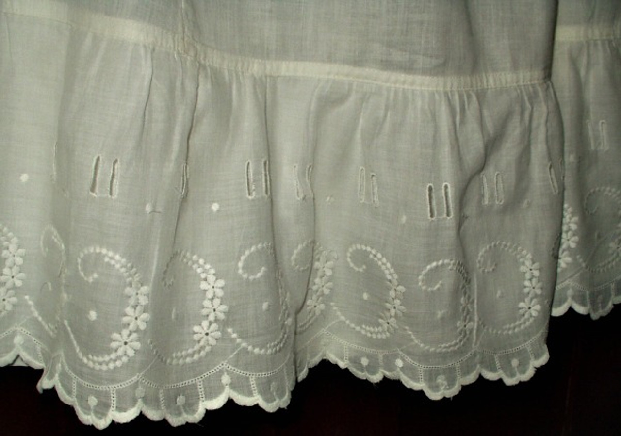 Antique Victorian Edwardian White Cotton  Embroidery Ruffle Petticoat