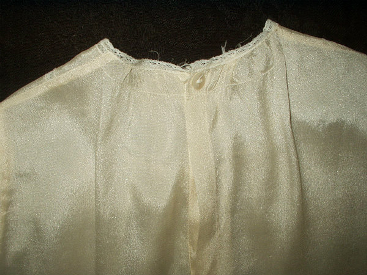 Antique Vintage Edwardian Cream Silk Children's Dress Lace Trim