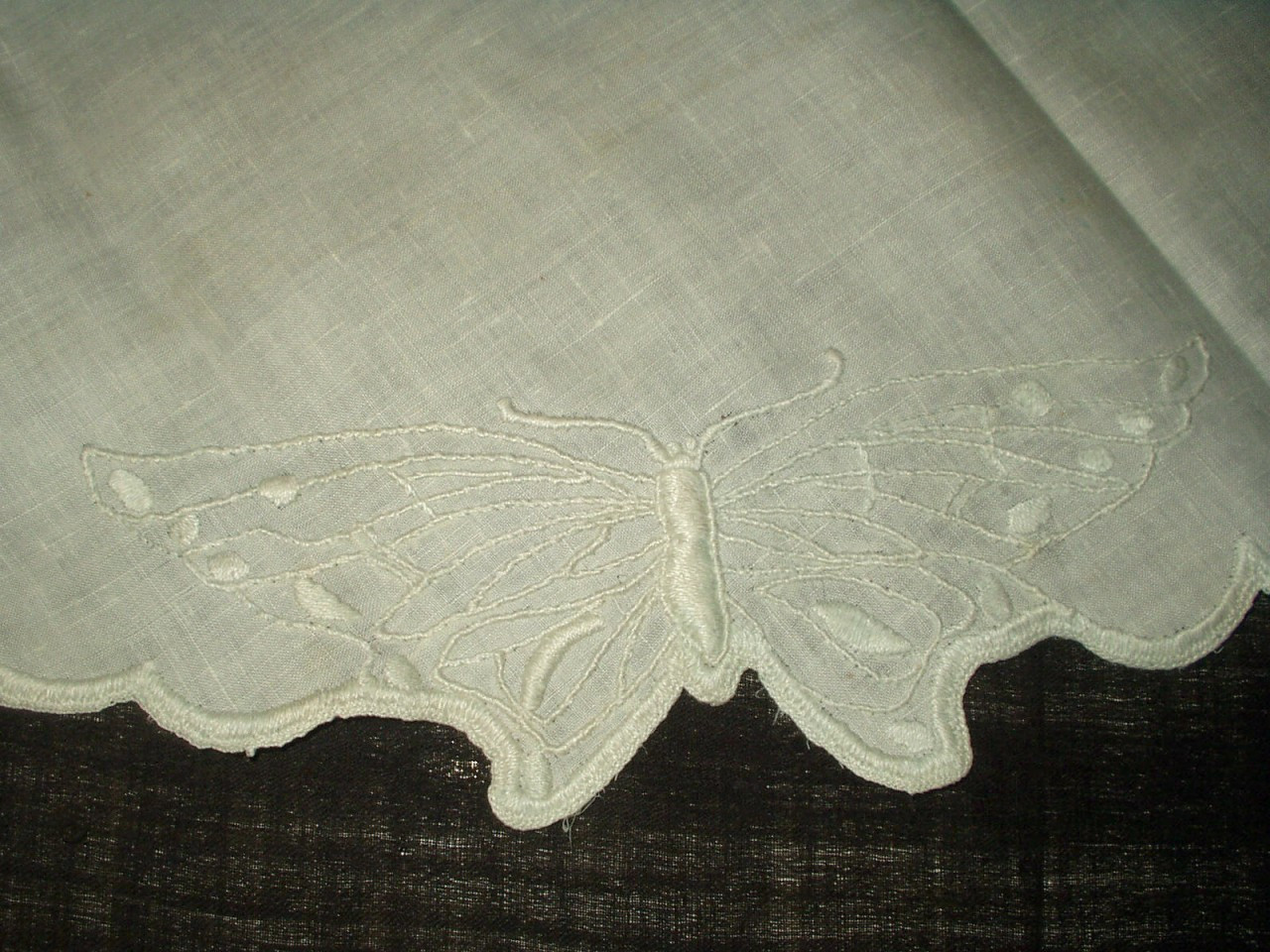 Antique Early 1900 Butterfly Embroidery Linen Centerpiece Table Doily