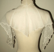 19th Century 1850 Whitework Embroidery Fine Muslin Lappet Tie