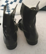 Vintage 1920's Boy Shoes Black Leather Red Goose Tie Unworn Old Stock