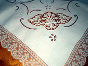 Antique Vintage Point Venice Insets Embroidered Cutwork Linen Tablecloth