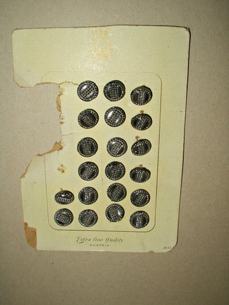 20 Edwardian Austria Black Silver Glass Buttons Original Card