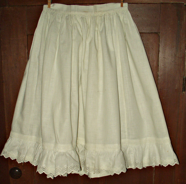Victorian Edwardian Girl White Cotton Petticoat Swiss Embroidery Trim