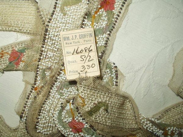Antique Vintage 1920s Flapper Beadwork Beading Embroidery Tulle Trim Yardage