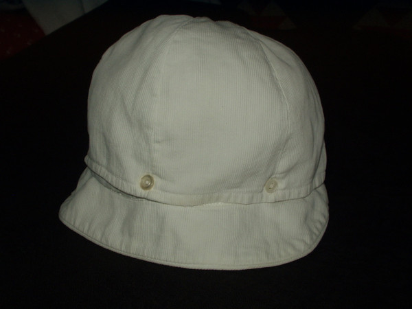 Vintage Boy Children White Pique Button Brim 1920 1930 Hat Cap