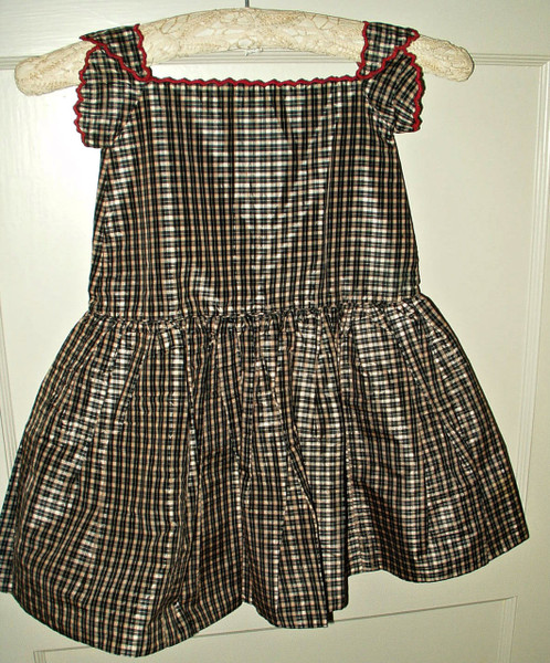 Civil War Victorian Children Silk Taffeta Blue White Plaid Pinafore Dress