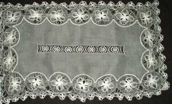 Early 1900s Sheer Organdy Tenerife Lace Edging Oblong Table Runner