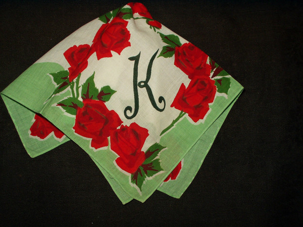 Vintage 1950 Roses Floral Hankie Handkerchief Printed Initial K