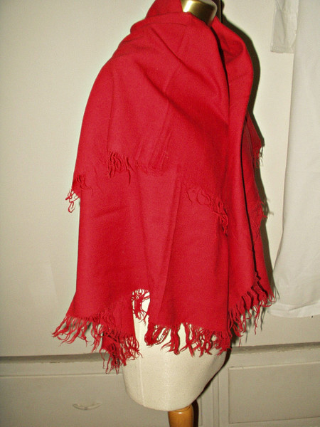 Antique 19th Century Victorian Hand Fringed Red Wool Shawl Scarf