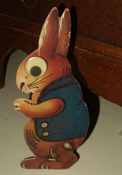 Vintage 1926 Printed  Easter Rabbit Googly Eye Cardboard Candy Box Container