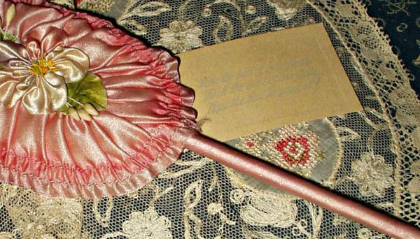 Vintage Edwardian Boag Ribbon Rosette Powder Puff Wand Pink Silk Sentiment Card