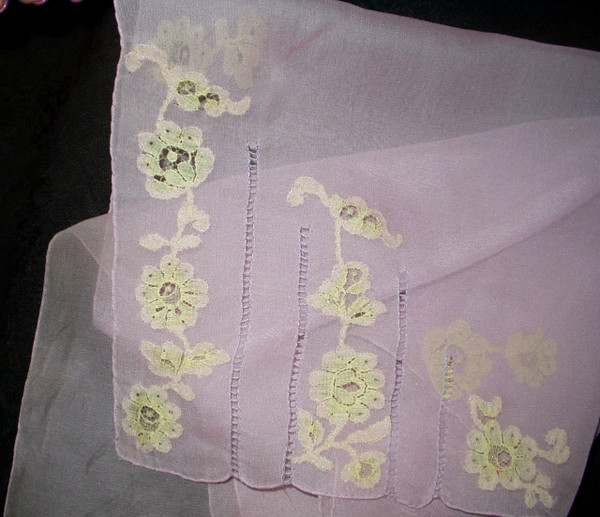 Vintage 1930 Lavender Chiffon Handkerchief Scarf Lace Applique Drawn Thread