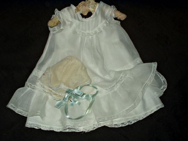 Effanbee Bubbles Doll Dress Bonnet Slip Vintage 1920's 1930's