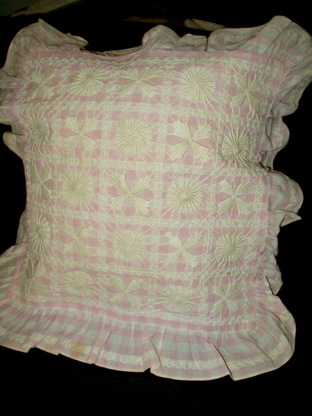 Antique Victorian Edwardian Pillow Cover Pink Check Chicken Scratch Embroidery