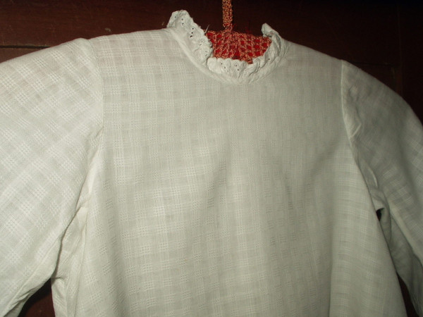 Child Victorian White Dimity Dress Window Pane Fabric Whitework Trim