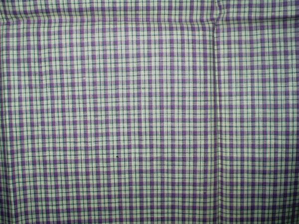 Vintage 1930 1950 Plaid Cotton Fabric Remnant Piece
