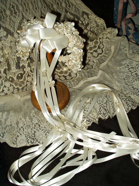 Bridal Wedding Flowers Headpiece Ribbon Streamers Vintage 1940