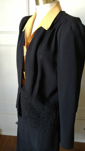 Vintage 2 Piece Black Crepe Suit 1930 Dress Soutache Braid Trim