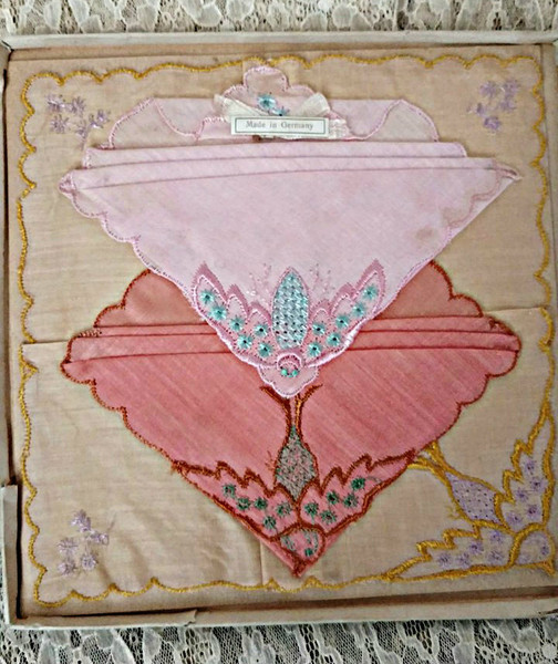 3 Germany Handkerchiefs Vintage 1920 Embroidery Color Hankies Unused