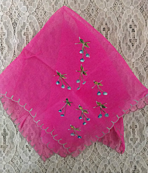 1920 Hand Painted Rose Silk Chiffon Handkerchief Gold Metallic Edging