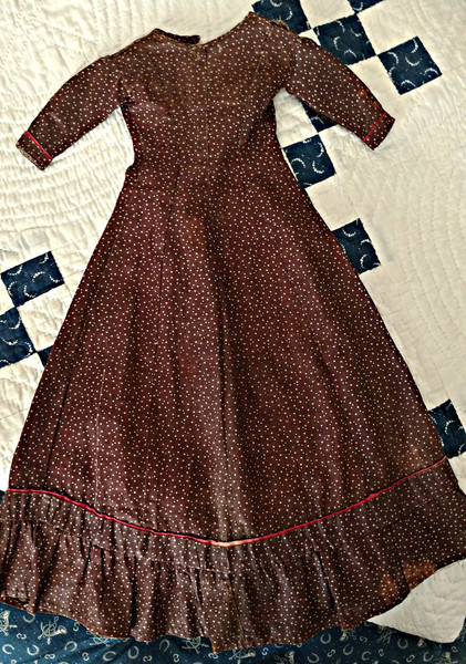 19th Century Calico Doll Dress Hand Stitched Brown Fabric