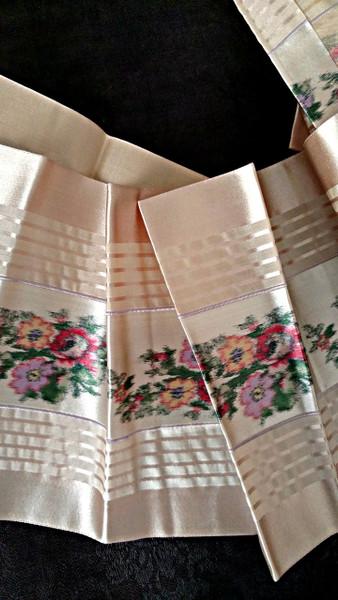 Silk Satin Ribbon 1920s Vintage Stripe Floral 6 Inch Width