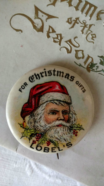 Vintage 1940s Celluloid Merry Christmas Pinback Santa  Advertising Lobels