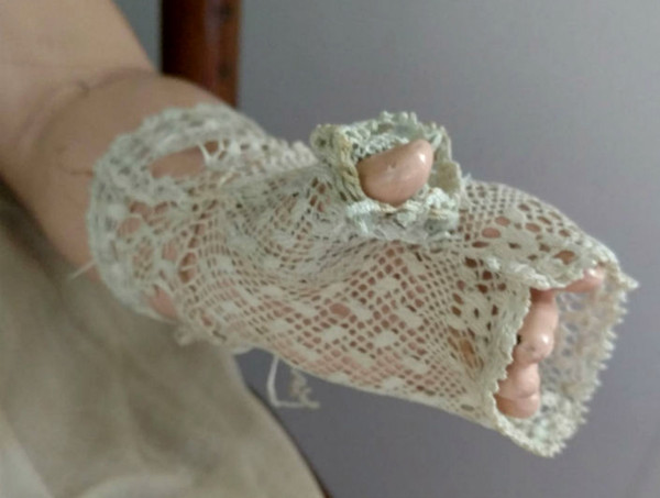 Civil War Child Mitts Hand Knotted Knit Mesh 1860s Fingerless Gloves