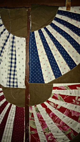 Vintage Fan Quilt Block Pieces 1920s Treadle Machine Sewn Multi Fabrics