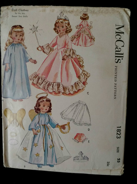 Vintage 1950s Doll Dress Pattern McCalls 1823 Sweet Sue Princess Angel