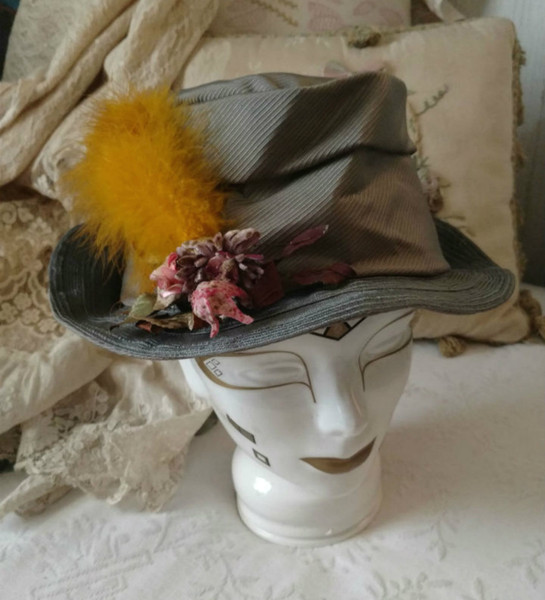 Edwardian Hat Faille Fabric Artificial Straw Feather Flowers Accent