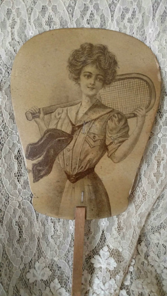 1900s Paper Fan Advertising Woman Tennis Racket  Sport
