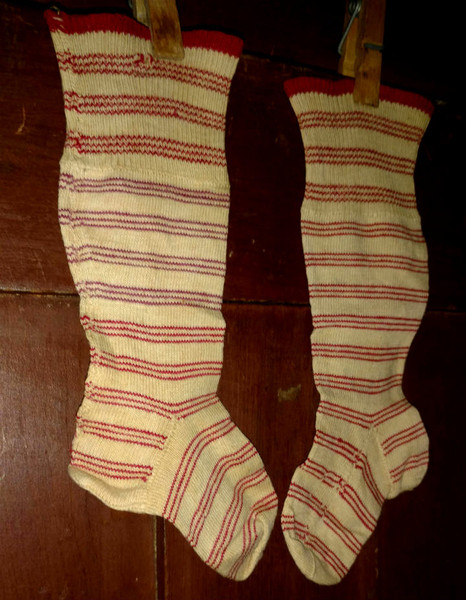 Children Stripe Stockings Antique Vintage Socks Victorian 1900s