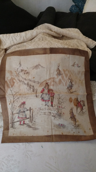 1900s Victorian Handkerchief Hankie Easter Bunny Rabbit Children
