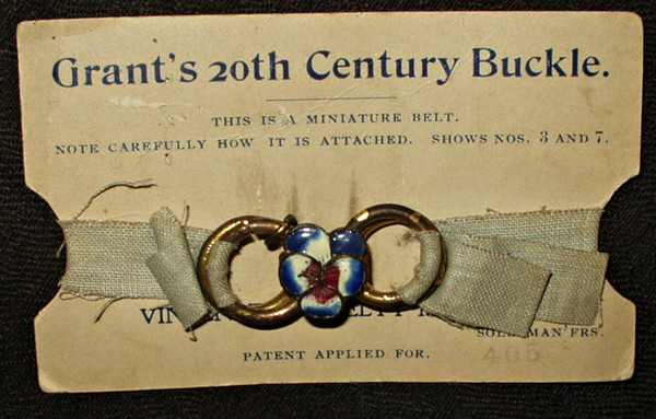 Vintage Salesman Sample Dress Belt Buckle Enamel Flower Original Card